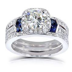 Round-cut Moissanite Diamond & Blue Sapphire Wedding Ring Set 2 Carat (ctw) in 14k White Gold (3 Piece Set)