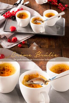 Crème Brûlée - Der große Klassiker der französischen Spitzenküche gelingt in unserem Wasserkocher durch die Warmhaltefunktion im Handumdrehen. #wasserkocher #cremebrulee #nachtisch #dessert #vanille #vanilleschote #sahne #milch Creme, Panna Cotta, Ethnic Recipes, Food, Vanilla, Twin, Milk, Bakken, Dulce De Leche