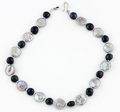 Silver Coin Pearls and Black Pearls Necklace, silver tone clasp by Gemjunky1 on Etsy
