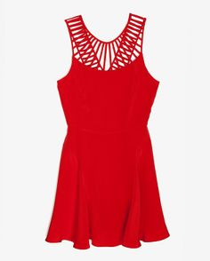 Parker Slotted Neckline Silk Flare Dress
