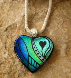 Dichroic Fused Glass Hand Etched  Pendant, Valentine Necklace, Fused Glass Heart Pendant  - My Heart is Blue