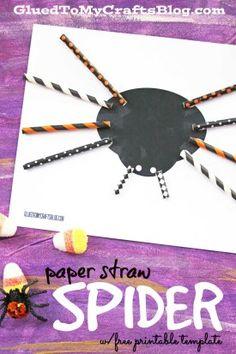 Paper Straw Spider - Halloween Kid Craft