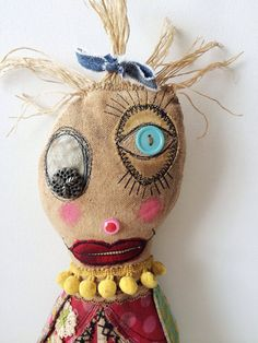 Scrap Happy Sally Monster Rag Doll Primitive Folk by dollyzemomma