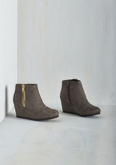 Leadership Lessons Bootie - Grey, Solid, Work, Casual, Minimal, Good, Wedge, Ankle