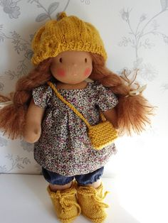 **Welcome to my shop rue du bonheur!**    This is Julie, a sweet 13.5 inch waldorf doll, with chestnut mohair hair, brown eyes and coffee milk skin!