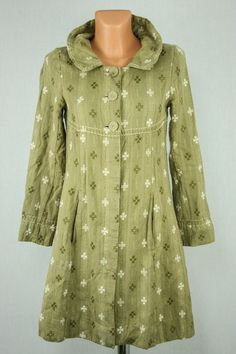 GUDRUN SJÖDÉN Gudrun Sjoden Cotton Wool Green Embroidered Jacket Long Coat sz S #GudrunSjoden #OtherJackets