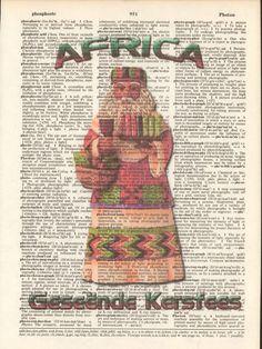 Christmas Policeman Nutcracker Altered Art Print Upcycled Vintage Dictionary