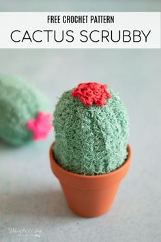 Free Crochet Pattern: Crochet Cactus Scrubby | These darling cactuses are so easy to make and sit in a cute terra cotty pot by your sink! #crochetscrubby #crochetcactusscrubby #crochetcactus #crochetcactuspattern