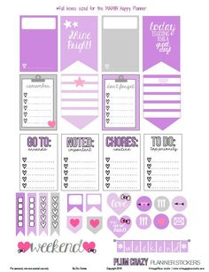 Plum Crazy Planner Stickers | Free printable, for personal use only
