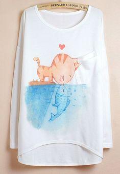 White Batwing Sleeve Cat Fish Print Dipped Hem T-Shirt