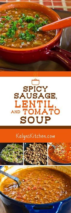 This Spicy Sausage, Lentil, and Tomato Soup is one of my favorite soups with lentils. If you want a lower-carb soup, use less lentils and more sausage!  [found on KalynsKitchen.com]