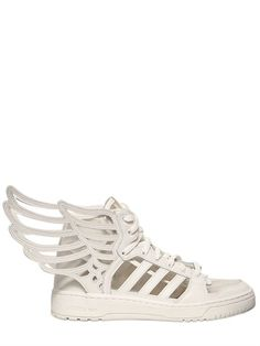 sale retailer 4a6ad 675e4 ADIDAS BY JEREMY SCOTT - JS WING 2.0 CUT OUT LEATHER SNEAKERS -  LUISAVIAROMA LUXURY SHOPPING