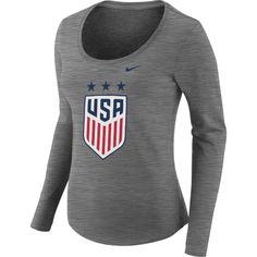 Nike Women s 2018 Fifa World Cup Russia USA Crest Heather Grey Scoop Neck T- Shirt 14cb313e8