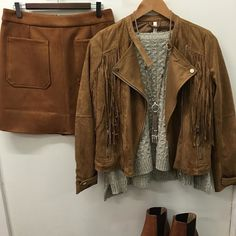Suede Skirt $65 Suede Tassel Jacket $99 Cropped Cable Knit Jumper $99 Tan Leather Boots $239.95  #suede #tan #tassel #tanskirt #tanjacket #suedeskirt #suedejacket #cableknit #jumper #knitwear #boholuxe #leatherboots #ontrend #style #miniskirt #croppedjumper #winter #autumn @spicysugarfashion #warrnambool #portfairy by lovehermadlyboutique