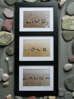 LIVE LOVE LAUGH Three Beach Wish Sentiments by myBeachWishes