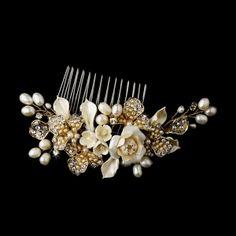 Peigne mariage coiffure mariée - Fleurs Nacre Gold