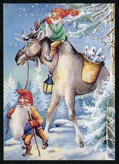 "Two elves and a moose - Artist Lars Carlsson "" Swedish Christmas, Christmas Gnome, Christmas Past, Scandinavian Christmas, Xmas, Illustration Noel, Christmas Illustration, Illustrations, Vintage Christmas Cards"