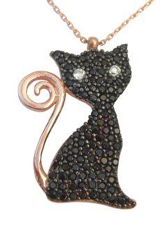 Black Cat Necklace, rose gold vermeil