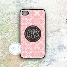 Monogrammed iPhone Case Coral Damask and Dark by MonogramCase