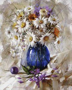 Gappasov Ramil.  daisies in blue glass  oil 50cm x 40cm