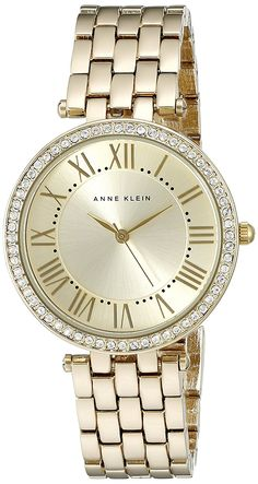 Anne Klein Women's AK/2230CHGB Swarovski Crystal Accented Gold-Tone Bracelet Watch *** Check out the image by visiting the link.