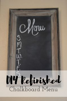 I don't know about you, but I am all about chalkboard art these days.  My friend Kerry over at XO Kerry blog has offered to share with us her DIY Refinished Chalkboard Menu.  It is an easy to do DIY project, requires minimal supplies and will be the perfect addition to your kitchen!  Head on over to the blog to get your DIY on!