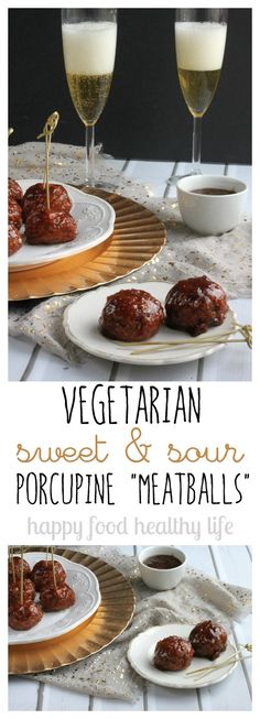"Vegetarian Sweet & Sour Porcupine ""Meatballs"" - this is hands-down the best meatless appetizer I've ever brought to a party - and they were gone in a flash! 