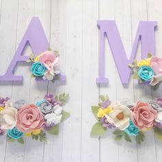 These wallflowers are perfect to pair with one of our letters  coordinated nursery here we come!  Baby girl nursery / nursery decor | felt flowers | floral nursery