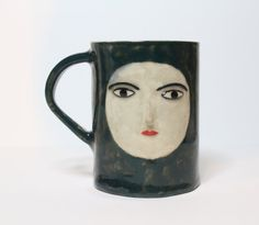 SALE Handmade Ceramic Green and White Mug with by KinskaShop, £25.00