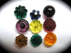 ANTIQUE BUTTONS ~ 9 GLASS SWIRLBACK CHARMSTRINGS PURPLE YELLOW BLUE RED ++