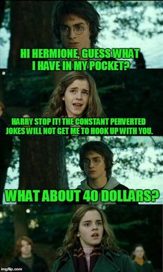 Horny Harry | HI HERMIONE, GUESS WHAT I HAVE IN MY POCKET? HARRY STOP IT! THE CONSTANT PERVERTED JOKES WILL NOT GET ME TO HOOK UP WITH YOU. WHAT ABOUT 40  | image tagged in memes,horny harry | made w/ Imgflip meme maker