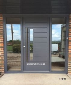 contemporary door grey left vision panel and fully glazed side panels