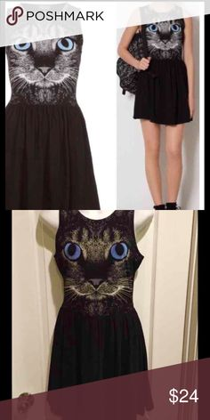 Topshop women's cat dress Topshop dress with cat on the front. adorable. Worn a handful of times. Topshop Dresses Mini