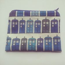 Handmade Doctor Who Tardis Style Cotton Fabric Passport Pouch - Large Size