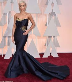Look at me!: Rita Ora made sure she stole the limelight in her show-stopping Marchesa gown...