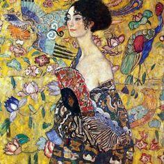 Woman with fan-Gustav Klimt-Art Print Art Klimt, Pics Art, Unique Wall Art, Oil Painting Reproductions, Painting Edges, Stretched Canvas Prints, Oeuvre D'art, Art Inspo, Art Nouveau