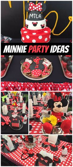 This Minnie Mouse party is so fun! Lots of polka dots and fun decorations! See more party planning ideas at CatchMyParty.com!