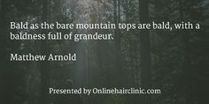 Bald as the bare mountain tops are bald, with a baldness full of grandeur. Loss Quotes, Hair Quotes, Hair Transplant, Latest Hairstyles, Hair Loss, Inspiring Quotes, Hair Inspiration, Quotations, Mountain