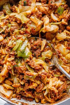 Fried Cabbage Recipe with Sausage - Fried Cabbage with Sausage Skillet – – Perfect for your weeknight - Cabbage Recipes With Sausage, Bacon Fried Cabbage, Cooked Cabbage, Sausage Recipes, Pork Recipes, Healthy Recipes, Recipes With Sausage Ground, Keto Recipes, Ground Sausage