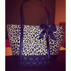 Betsey Johnson Leopard and Black Purse with Hearts