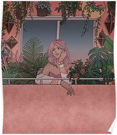 'Urban Garden' Poster by Kelsey Smith Cartoon Kunst, Anime Kunst, Cartoon Art, Anime Art, Aesthetic Drawing, Aesthetic Art, Aesthetic Anime, Kunst Inspo, Art Inspo
