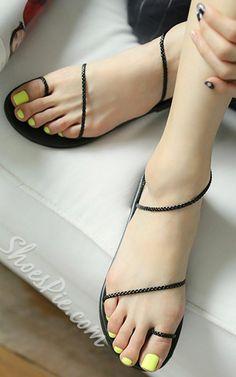 Simple Black Braided Strings Flat Sandals via @bestchicfashion