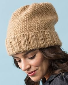 Free Knitting Pattern for Seed Stitch Slouchy Hat - #ad Easy slouchy hat pattern. tba