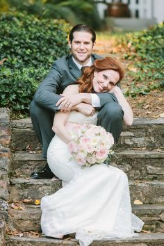 Wedding Portraits on Old Stone Steps   Harper Noel Photography   Georgia in the Fall - Southern Garden Wedding