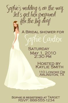 customized bridal wedding shower invitation by