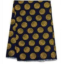 2-Yards-Yellow-on-Blue-black-African-Fabric-Ankara-Hollandais-Wax-Textile