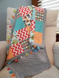 Modern Colorful Woodland Pals Quilt w/ Minky by PopOfColorPillows, $95.00
