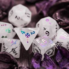 Holographic Number Dice Set Royal Style Clear Quartz Raised Holographic Number Dice Set Royal Style Liquid interior Midnight Orchid glow dice quirky dnd gift d&d dice Brian Atwood, Dragon Dies, Dungeons And Dragons Dice, Merian, Ideas Geniales, Pen And Paper, Clear Quartz, Fantasy, Holographic