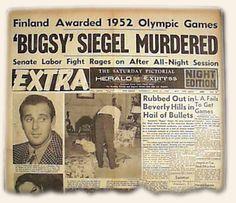 1947 Bugsy Siegel Newspaper article on murder Real Gangster, Mafia Gangster, Gangster Tattoos, Newspaper Front Pages, Vintage Newspaper, Newspaper Article, The Black Dahlia Murder, Bugsy Siegel, Las Vegas