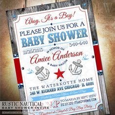 Rustic Nautical Boy Baby Shower Invitation - digital - baby shower invite Ahoy it's a Boy! on Etsy, $15.99